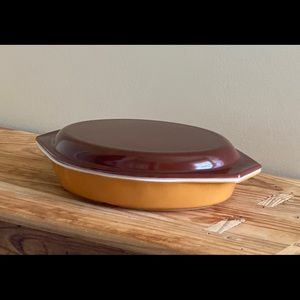 Pyrex Old Orchard Brown Gold Divided Casserole Lid